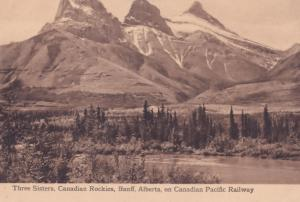 Three Sisters on Rockies Canada Canadian Pacific Railway Old Postcard