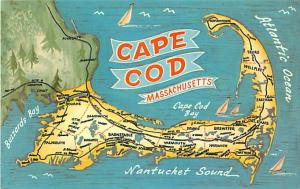 Cape Cod Massachusetts MA Map Chrome Postcard