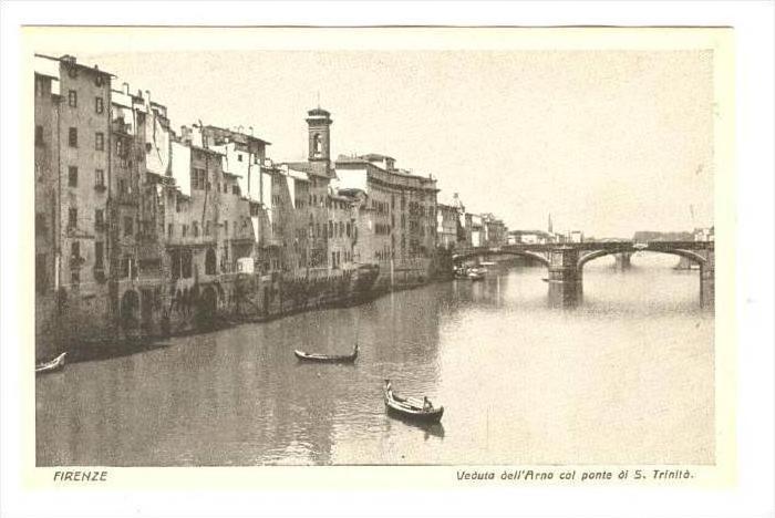 Veduta Dell'Arno Col Ponte Di S. Trinita, Firenze (Tuscany), Italy, 1900-1910s