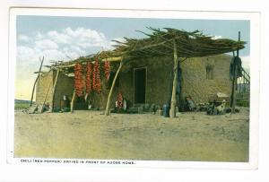 Chili (Red Pepper) Drying in Front of Adobe Home unused Postcard