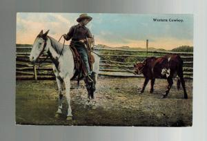 1911 Picture Postcard Cover Western Cowboy on Horse with Cow Duluth MN to Spokan