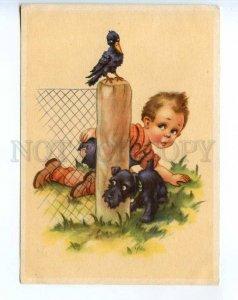 241657 GERMANY CHILDREN boy Crow Scottish Terrier Vintage PC