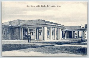 Milwaukee Wisconsin~Lake Park Pavilion~Statue in Front~1907 B&W Postcard
