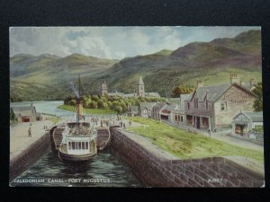 CALEDONIAN CANAL FORT AUGUSTUS & Steam Boat Art by A.P. Thompson c1930s Postcard