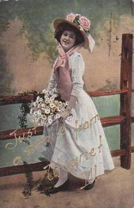 Woman with flowers,  Illinois, PU-00-10s