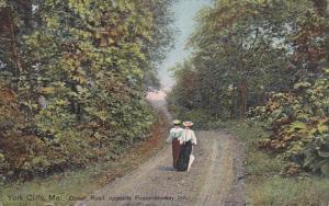 Ladies Walking Down Ocean Road, Opposite Passaconaway Inn, York Cliffs, Maine...