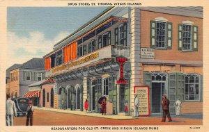 Drug Store, St. Thomas, U.S. Virgin Islands, Early Linen Postcard, Unused
