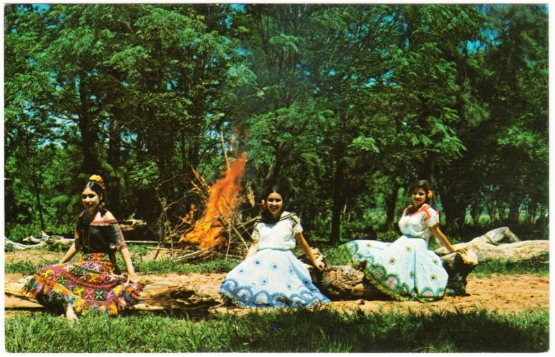 Paraguay Local Women in Native Dresses at Bonfire 1960s-1970s Postcard