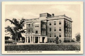 Washington Iowa~County Hospital~Porte Cochere at Entrance~1933 CT Photo-Platin