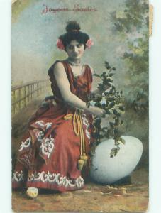 Pre-Linen easter PRETTY GIRL IN RED DRESS WITH FLOWERS IN HAIR J2355