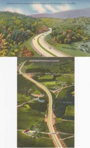 (2 cards) Views of Pennsylvania Turnpike Bedford County & Clear Ridge Cut Linen