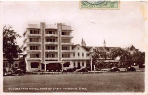Queens Park Hotel, Port of Spain, Trinidad, Early Postcard, Used in 1947