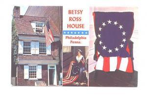 Threeview, Flags Betty Ross House Philadelphia Pennsylvania, Art Color Card D...