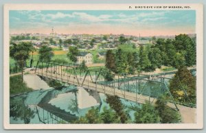 Wabash Indiana~Birds Eye View Across Truss Bridge Into Town~Homes~1919 Postcard