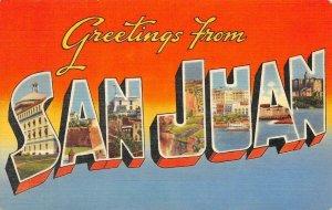 SAN JUAN Large Letter Greetings Puerto Rico c1940s Linen Vintage Postcard