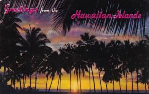 Hawaii Sunset Through The Palms 1974