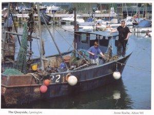 Boat Netting Father & Son at Lymington Quay Hampshire Postcard