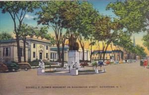 New York Watertown Roswell P Flower Monument On Washington Street 1948