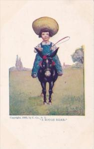 Young Girl Riding Donkey A Rough Rider