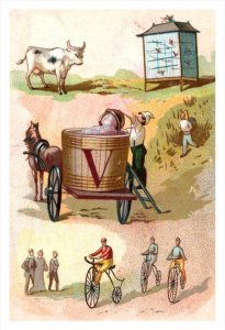 20406  Victorian Card, V initial on wagon, bicycles,  Bird cage