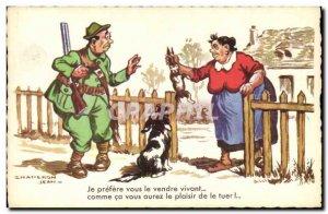 Old Postcard Fantasy Humor Hunting Dog Rabbit Hunter John Hood
