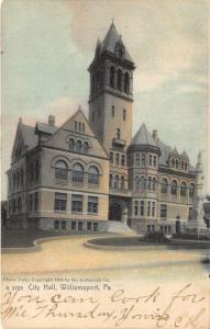 Williamsport Pennsylvania~City Hall~Statue in Front~1907 Rotograph Postcard