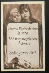 Mint Italy Advertising Picture Postcard War Found Out Dad Just Give Is Life