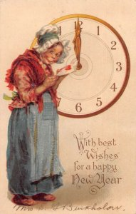 New Year Greetings Lady with Letter and Clock Brundage Tuck Postcard AA15278