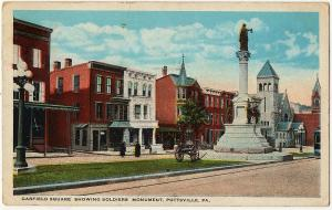 1922 Pottsville PA Garfield Square Showing Soldiers Monument Cannon WB Postcard