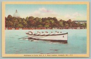 Annapolis Maryland~US Naval Academy~Midshipmen @ Cutter Drill~1940s Postcard