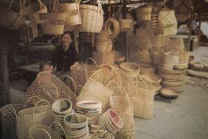 Cambodia Crafts & Culture Phnom Penh Straw Baskets Postcard
