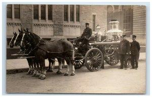 1909 RPPC Springfield MA Fire Department Engine Wagon Horses Firemen Postcard
