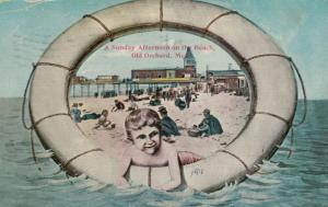 OLD ORCHARD BEACH , Maine , 1911 ; Life Ring View