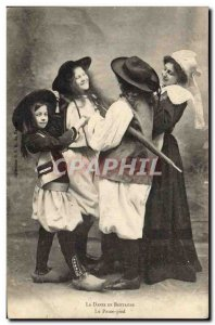 Old Postcard Folklore Dance in Brittany foot passes