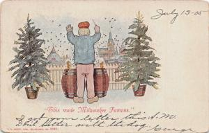 THIS MADE MILWAUKEE WISCONSIN FAMOUS-BEER KEGS-PARTY-KROPP #1061 POSTCARD 1905