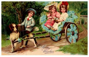 Dog , Victorian Girls pulled in cart