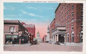 Illinois Springfield Capitol Avenue Looking West 1942
