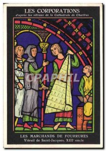 Postcard The Ancient of Corporations after the windows of the Cathedral of Ch...