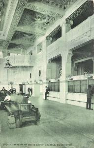 Seattle WA Abandoned Luggage~Ticket Window~Interior of Union Depot~1910 Postcard