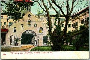 Riverside, California Postcard Campanile, Glenwood Mission Inn Bell Tower PCK
