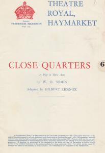 Close Quarters Oscar Homolka of Marilyn Monroe Drama Theatre Programme