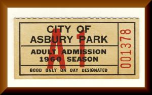 Unused 1960 Bathing Permit Ticket, Asbury Park,New Jersey/NJ