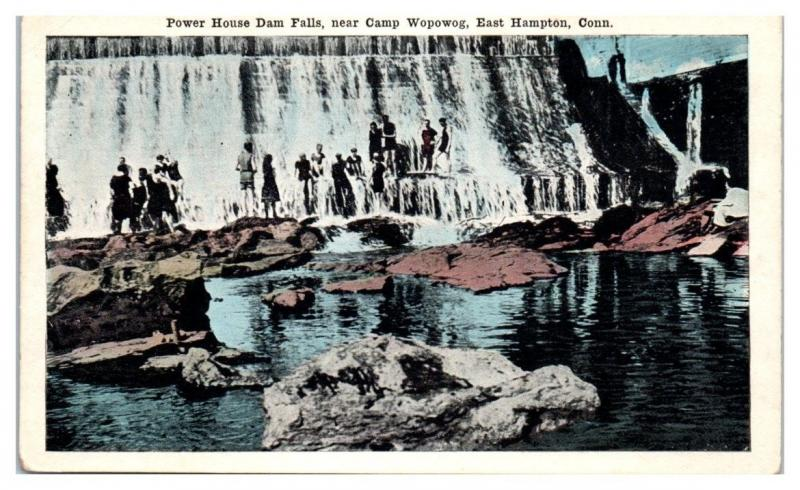 Early 1900s Power House Dam Falls near Camp Wopowog, East Hampton, CT Postcard