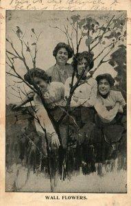 Vintage Postcard 1910 Wall Flowers Four Women Sitting in Meadow