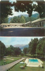 Rocky Waters Motel, 2 Views Waynesville, North Carolina Postcard Postmarked 1960