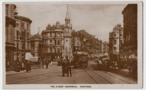 Sussex; The Albert Memorial, Hastings RP PPC 1924 PMK Note Tram & Horse Van