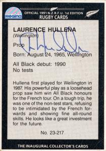 Laurence Hullena 1991 New Zealand Hand Signed Rugby Card Photo