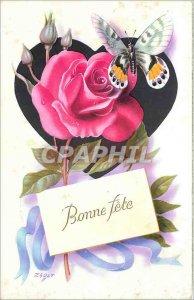 Old Postcard Bonne Fete Flower Butterfly