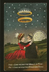 Postmark 1912 Canmore Alta Canada Lover's Ring's & Moon Color Postcard