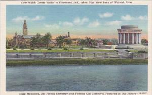 Indiana Vincennes Clark Memorial Old French Cemetery & Old Cathedral 1949 Cur...